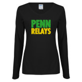 Ladies Black Long Sleeve V Neck T Shirt-Penn Relays Stacked - Jamaica Colors