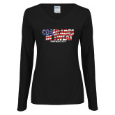 Ladies Black Long Sleeve V Neck T Shirt-Comrades In Sweat - USA Flag