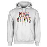 White Fleece Hoodie-World Flags Penn Relays