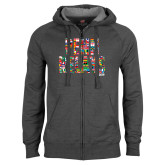 Charcoal Fleece Full Zip Hoodie-World Flags Penn Relays
