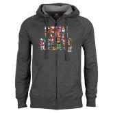 Charcoal Fleece Full Zip Hoodie-World Flags Penn Relays