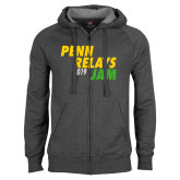 Charcoal Fleece Full Zip Hoodie-Penn Relays Jam 2018