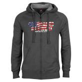 Charcoal Fleece Full Zip Hoodie-Comrades In Sweat - USA Flag