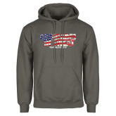 Charcoal Fleece Hoodie-Comrades In Sweat - USA Flag