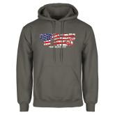 Charcoal Fleece Hoodie-Comrades In Sweat - USA Flag