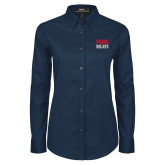 Ladies Navy Twill Button Down Long Sleeve-Penn Relays Stacked