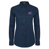 Ladies Navy Twill Button Down Long Sleeve-Penn Relays