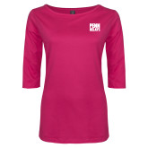 Ladies Dark Fuchsia Perfect Weight 3/4 Sleeve Tee-Penn Relays Stacked