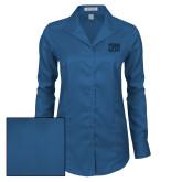 Ladies Red House Deep Blue Herringbone Non Iron Long Sleeve Shirt-Penn Relays Stacked