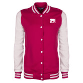 Ladies Pink Raspberry/White Fleece Letterman Jacket-Penn Relays Stacked