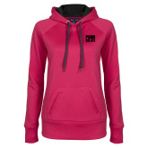 Ladies Pink Raspberry Tech Fleece Hooded Sweatshirt-Penn Relays Stacked