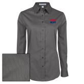 Ladies Grey Tonal Pattern Long Sleeve Shirt-Penn Relays Stacked