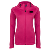 Ladies Tech Fleece Full Zip Hot Pink Hooded Jacket-Penn Relays Stacked