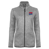 Grey Heather Ladies Fleece Jacket-Penn Relays Stacked