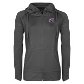 Ladies Sport Wick Stretch Full Zip Charcoal Jacket-Penn Relays