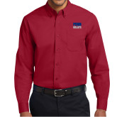 Cardinal Twill Button Down Long Sleeve-Penn Relays Stacked