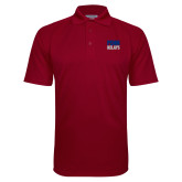 Cardinal Textured Saddle Shoulder Polo-Penn Relays Stacked