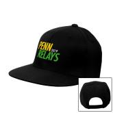Black Flat Bill Snapback Hat-Penn Relays Jamaica 2017