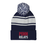 Navy/White Two Tone Knit Pom Beanie with Cuff-Penn Relays Stacked
