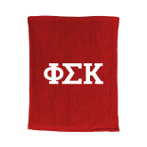 Red Rally Towel-Greek Letters