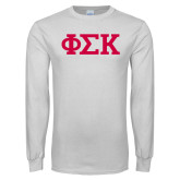 White Long Sleeve T Shirt-Greek Letters