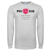 White Long Sleeve T Shirt-Phi Sig Stacked