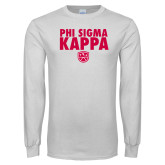White Long Sleeve T Shirt-Stacked Phi Sigma Kappa