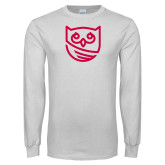White Long Sleeve T Shirt-Owl Icon
