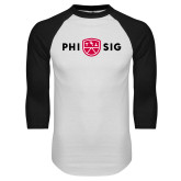 White/Black Raglan Baseball T Shirt-Phi Sig Wordmark