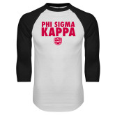 White/Black Raglan Baseball T Shirt-Stacked Phi Sigma Kappa