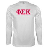 Performance White Longsleeve Shirt-Greek Letters