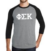 Grey/Black Tri Blend Baseball Raglan-Greek Letters