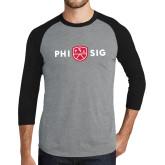 Grey/Black Tri Blend Baseball Raglan-Phi Sig Wordmark