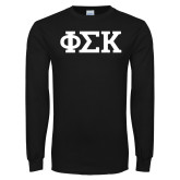 Black Long Sleeve T Shirt-Greek Letters