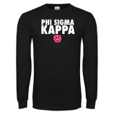 Black Long Sleeve T Shirt-Stacked Phi Sigma Kappa