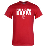Red T Shirt-Stacked Phi Sigma Kappa