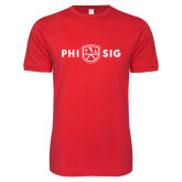 Next Level SoftStyle Red T Shirt-Phi Sig Wordmark