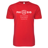 Next Level SoftStyle Red T Shirt-Phi Sig Stacked