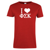 Ladies Red T Shirt-I Love Phi Sig