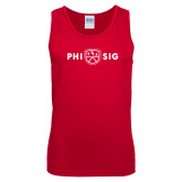 Red Tank Top-Phi Sig Wordmark