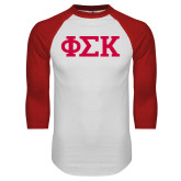 White/Red Raglan Baseball T Shirt-Greek Letters