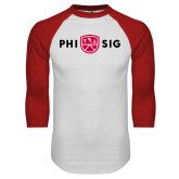 White/Red Raglan Baseball T Shirt-Phi Sig Wordmark