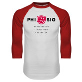 White/Red Raglan Baseball T Shirt-Phi Sig Stacked