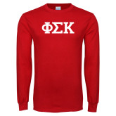 Red Long Sleeve T Shirt-Greek Letters