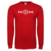 Red Long Sleeve T Shirt-Phi Sig Wordmark