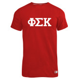 Russell Red Essential T Shirt-Greek Letters
