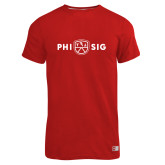Russell Red Essential T Shirt-Phi Sig Wordmark