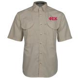 Khaki Short Sleeve Performance Fishing Shirt-Greek Letters