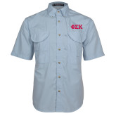 Light Blue Short Sleeve Performance Fishing Shirt-Greek Letters