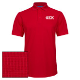 Red Dry Zone Grid Polo-Greek Letters